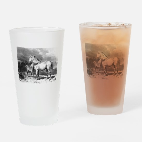 Mama And Baby Horse Drinking Glass