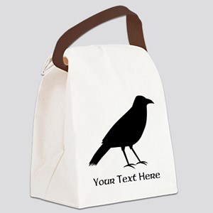 Crow and Custom Black Text. Canvas Lunch Bag