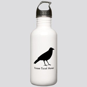 Crow and Custom Black Text. Stainless Water Bottle