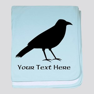 Crow and Custom Black Text. baby blanket
