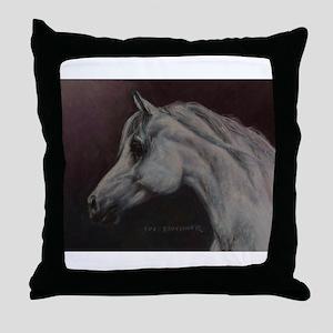 Gray Arabian Stallion Head Profile Throw Pillow
