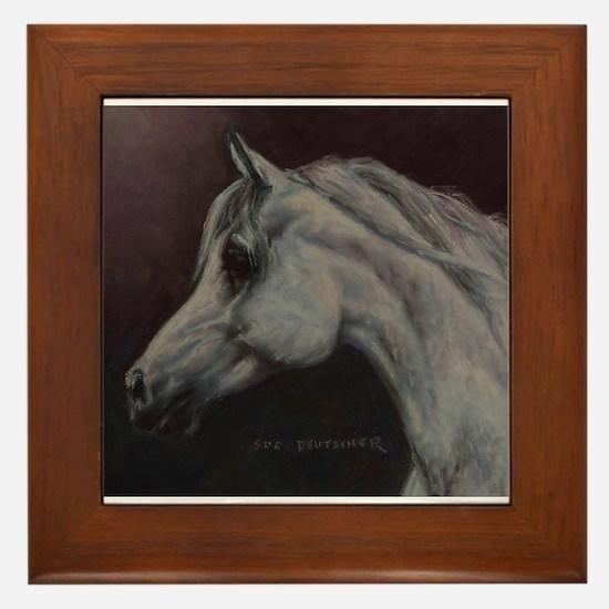 Gray Arabian Stallion Head Profile Framed Tile