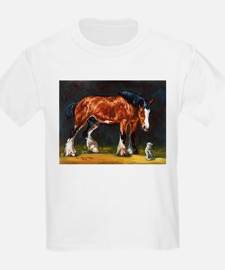 Clydesdale Horse and Cat T-Shirt