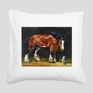 Clydesdale Horse and Cat Square Canvas Pillow