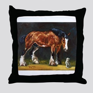 Clydesdale Horse and Cat Throw Pillow