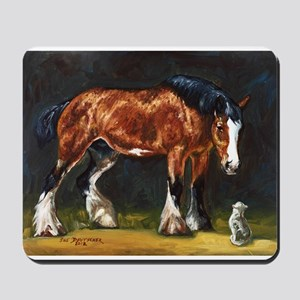 Clydesdale Horse and Cat Mousepad