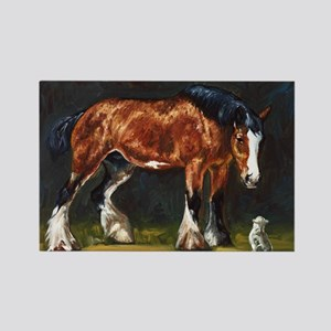 Clydesdale Horse and Cat Rectangle Magnet