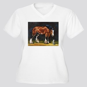 Clydesdale Horse and Cat Women's Plus Size V-Neck