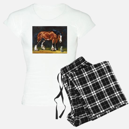 Clydesdale Horse and Cat Pajamas
