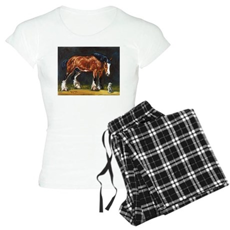 Clydesdale Horse and Cat Women's Light Pajamas