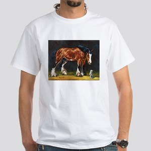 Clydesdale Horse and Cat White T-Shirt