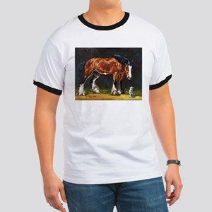 Clydesdale Horse and Cat Ringer T
