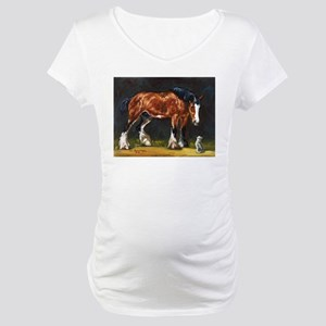 Clydesdale Horse and Cat Maternity T-Shirt