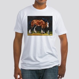 Clydesdale Horse and Cat Fitted T-Shirt