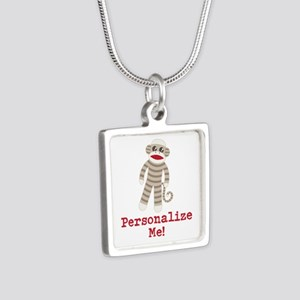 Classic Sock Monkey Silver Square Necklace