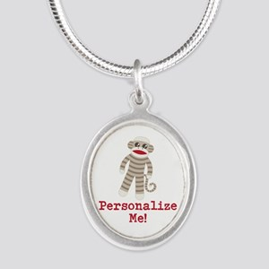 Classic Sock Monkey Silver Oval Necklace