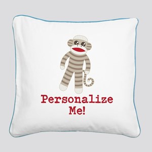 Classic Sock Monkey Square Canvas Pillow