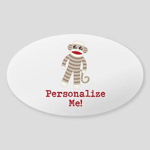 Classic Sock Monkey Sticker (Oval)