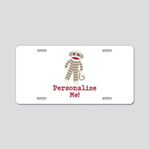 Classic Sock Monkey Aluminum License Plate