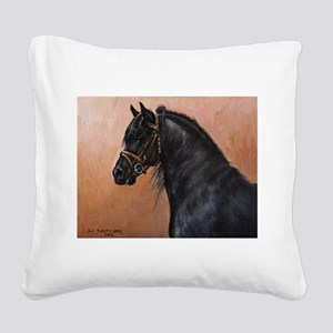 Friesian Horse Square Canvas Pillow