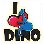 I Love Dino Square Car Magnet 3