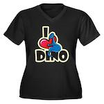 I Love Dino Women's Plus Size V-Neck Dark T-Shirt