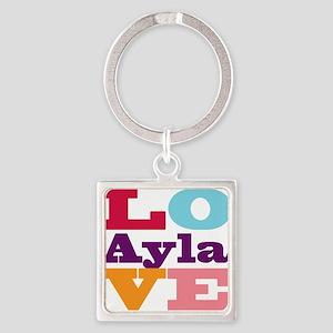 I Love Ayla Square Keychain