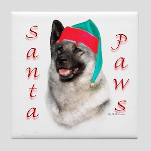 Santa Paws Elkhound Tile Coaster