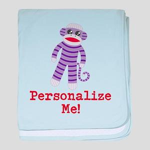 Purple Sock Monkey baby blanket
