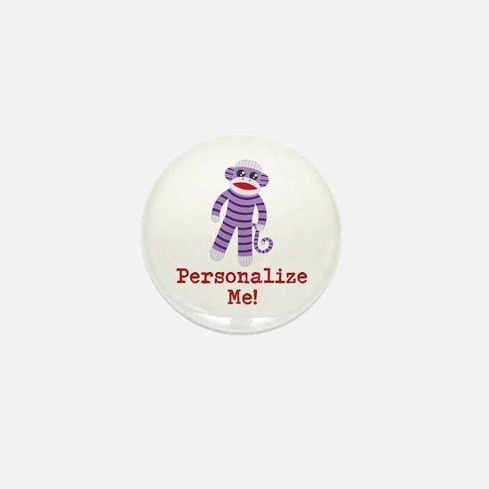 Purple Sock Monkey Mini Button