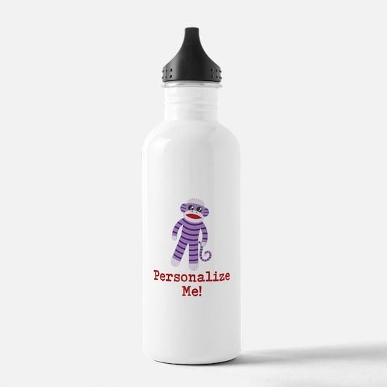 Purple Sock Monkey Water Bottle