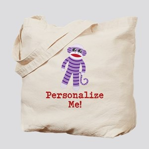Purple Sock Monkey Tote Bag