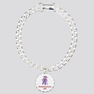 Purple Sock Monkey Charm Bracelet, One Charm