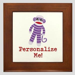 Purple Sock Monkey Framed Tile