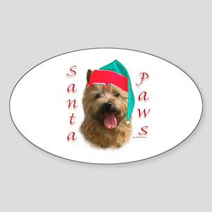 Santa Paws Norwich Terrier Oval Sticker