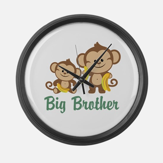 Big Brother Monkeys Large Wall Clock