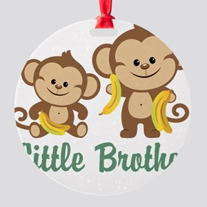 Little Brother To Be Monkey Round Ornament