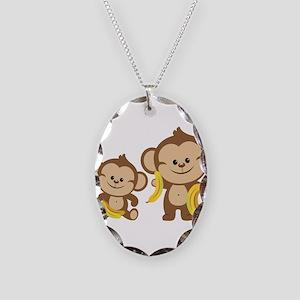 Little Monkeys Necklace Oval Charm