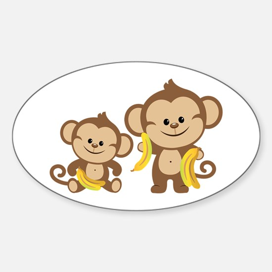 Little Monkeys Sticker (Oval)