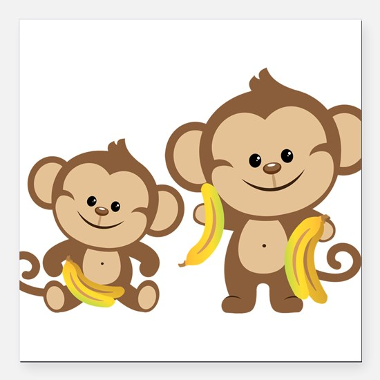 "Little Monkeys Square Car Magnet 3"" x 3"""