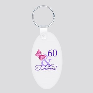 60 And Fabulous Aluminum Oval Keychain