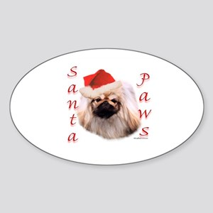 Santa Paws Pekingese Oval Sticker