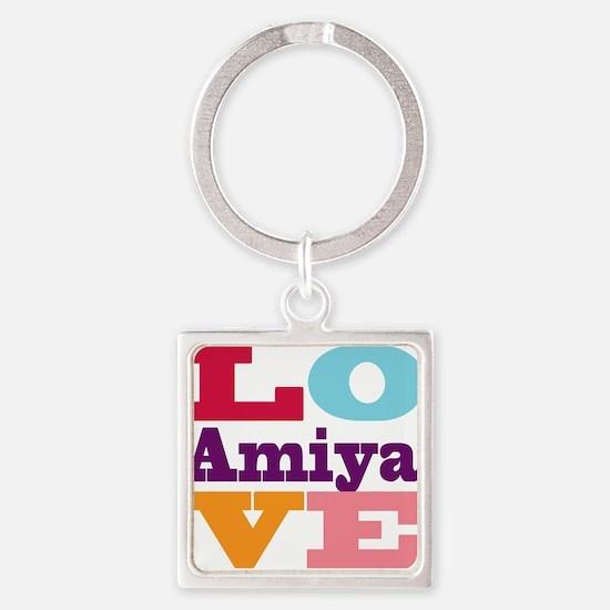I Love Amiya Square Keychain