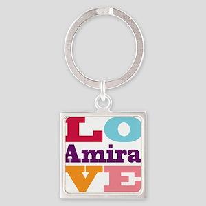 I Love Amira Square Keychain