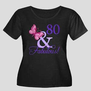 80 And Fabulous Women's Plus Size Scoop Neck Dark