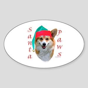 Santa Paws Corgi Oval Sticker