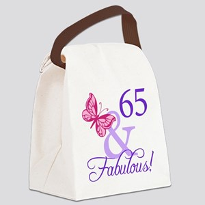 65 And Fabulous Canvas Lunch Bag