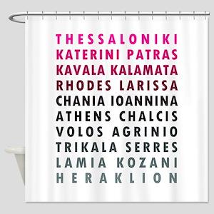 Greek Cities Pink Shower Curtain