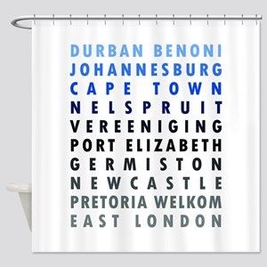 South African Cities Blue Shower Curtain