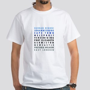 South African Cities Blue White T-Shirt
